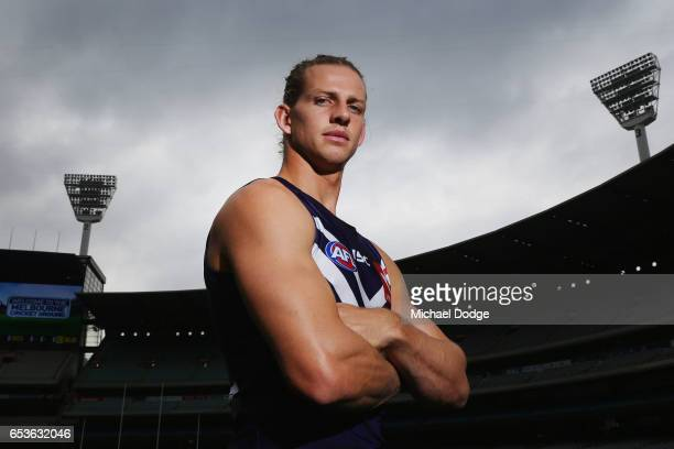 Nat Fyfe of the Fremantle Dockers poses during AFL Captains Day at Melbourne Cricket Ground on March 16 2017 in Melbourne Australia