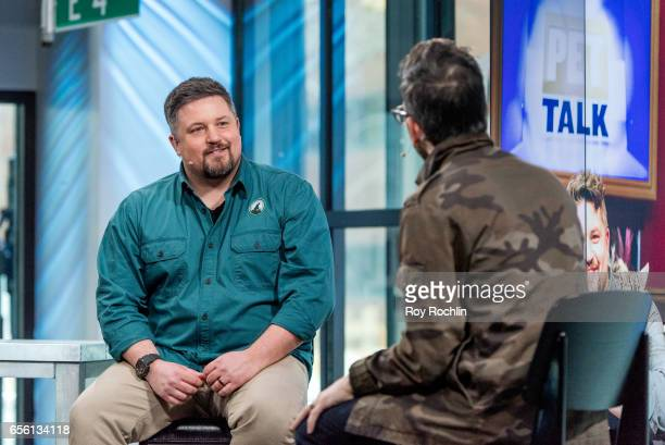 Nat Geo WILD host David Mizejewski discusses 'Pet Talk' Moderator Matt Forte during the build series at Build Studio on March 21 2017 in New York City