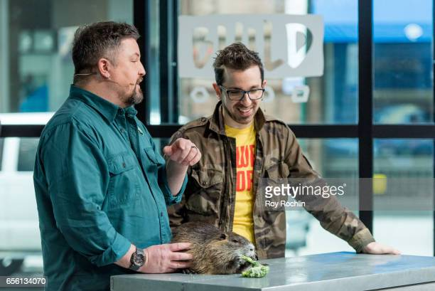 Nat Geo WILD host David Mizejewski discusses 'Pet Talk' with moderator Matt Forte and a A Nutria rodent during the build series at Build Studio on...