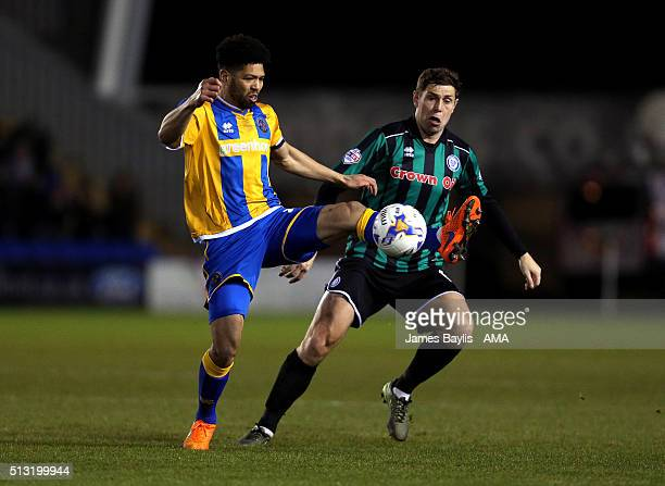 Nat KnightPercival of Shrewsbury Town and Grant Holt of Rochdale during the Sky Bet League One match between Shrewsbury Town and Rochdale at New...