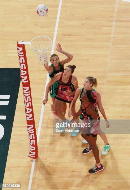 Nat Medhurst of Fever shoots during the round seven Super Netball match between the Fever and the Thunderbirds at Perth Arena on April 1 2017 in...
