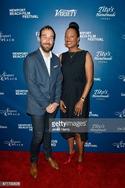 Nat Sanders and actress Aisha Tyler attend the Newport Beach Film Festival Honors at the Balboa Bay Club on April 22 2017 in Newport Beach California