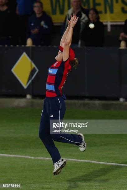 Nat Sciver of England drops a catch during the first Women's Twenty20 match between Australia and England at North Sydney Oval on November 17 2017 in...
