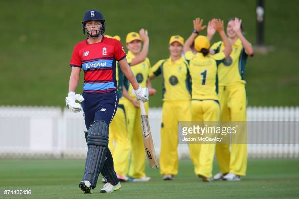 Nat Sciver of England looks dejected after being dismissed by Erin Fazackerley of the Governor General's XI during the T20 match between the...
