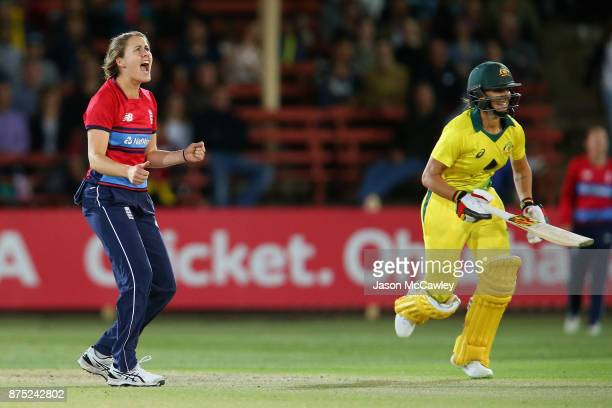 Nat Sciver of England reacts during the first Women's Twenty20 match between Australia and England at North Sydney Oval on November 17 2017 in Sydney...
