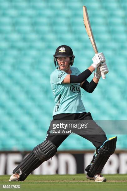 Nat Sciver of Surrey Stars hits a boundary during the Kia Super League 2017 match between Surrey Stars and Loughborough Lightning at The Kia Oval on...
