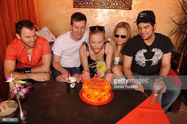 Nat Sharratt Kyle Newman Jaime King Sat Hari and J'Su Garcia celebrate Jamie's birthday at TAO Beach at The Venetian Hotel and Casino Resort on April...