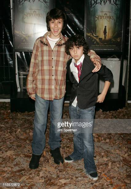 Nat Wolff and Alex Wolff arrive at 'The Spiderwick Chronicles' premiere at AMC Lincoln Square on February 4 2008 in New York City