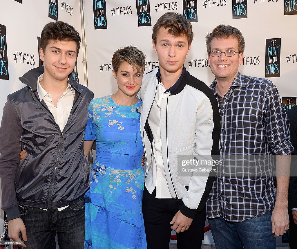 <a gi-track='captionPersonalityLinkClicked' href=/galleries/search?phrase=Nat+Wolff&family=editorial&specificpeople=4183919 ng-click='$event.stopPropagation()'>Nat Wolff</a>, <a gi-track='captionPersonalityLinkClicked' href=/galleries/search?phrase=Shailene+Woodley&family=editorial&specificpeople=676833 ng-click='$event.stopPropagation()'>Shailene Woodley</a>;<a gi-track='captionPersonalityLinkClicked' href=/galleries/search?phrase=Ansel+Elgort&family=editorial&specificpeople=9064000 ng-click='$event.stopPropagation()'>Ansel Elgort</a> and <a gi-track='captionPersonalityLinkClicked' href=/galleries/search?phrase=John+Green+-+Author&family=editorial&specificpeople=12799201 ng-click='$event.stopPropagation()'>John Green</a> attend the The Fault In Our Stars Miami Fan Event at Dolphin Mall on May 6, 2014 in Miami, Florida.