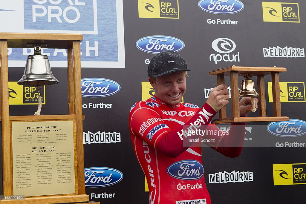 Nat Young of the United States of America rings the runner up bell during prizegiving on April 2, 2013 in Bells Beach, Australia.