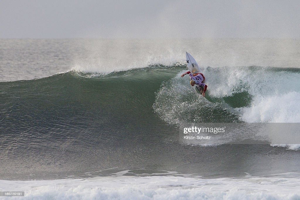 Nat Young of the United States of America surfs to runner up finish April 2, 2013 in Bells Beach, Australia.