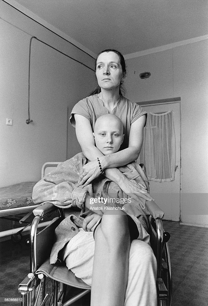 Natacha aged 14 suffering from bone cancer at the hospital in Borovliany She awaits amputation of her right leg