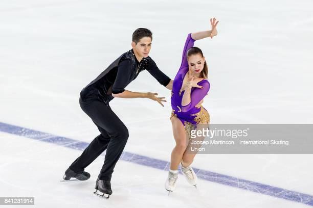 Natacha Lagouge and Corentin Rahier of France compete in the Junior Ice Dance Free Dance on day 1 of the ISU Junior Grand Prix of Figure Skating at...