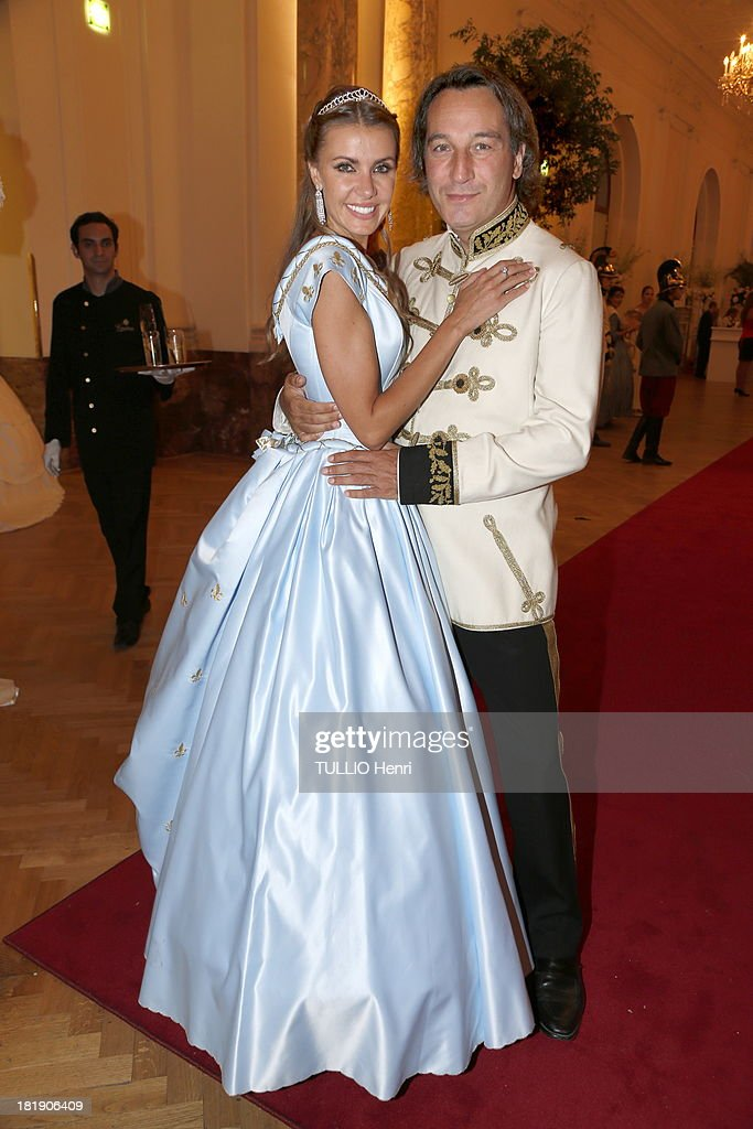 Natalia and Marco Di Cesaria pose at Kamel Alzarka 40th Birthday Party at the Hofburg Palace on September 7 2013 in Vienna Austria