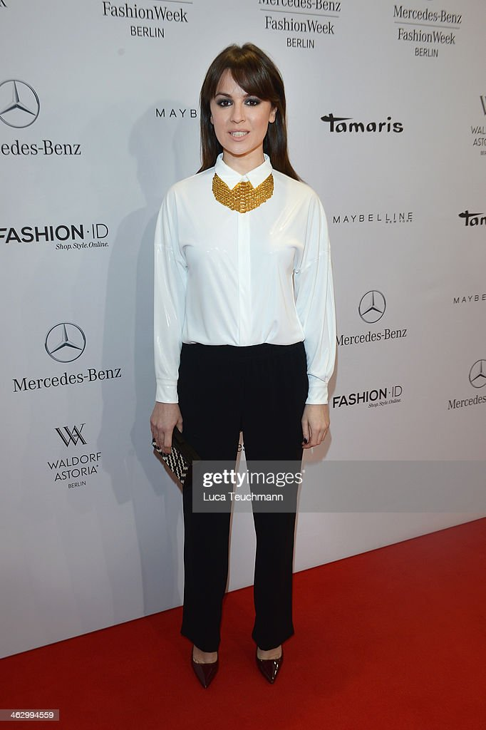 Natalia Avelon attends the Marc Cain show during MercedesBenz Fashion Week Autumn/Winter 2014/15 at Brandenburg Gate on January 16 2014 in Berlin...