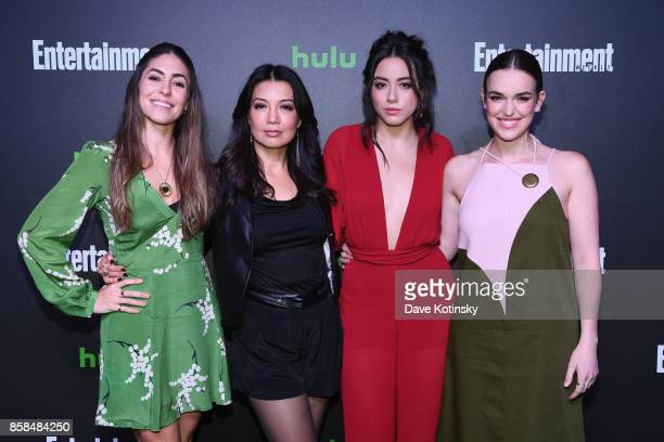 Natalia CordovaBuckley MingNa Wen Chloe Bennet and Elizabeth Henstridge attend Hulu's New York Comic Con After Party at The Lobster Club on October 6...