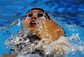 Natalia Coughlin of the USA competes in the Women's 100m Backstroke heats during day two of the FINA World Swimming Cup 2015 at the Hamad Aquatic...