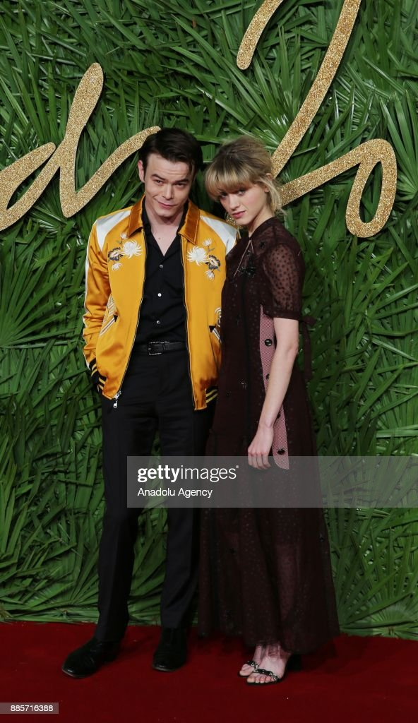 Natalia Dyer (L) and Charlie Heaton (R) attend 'The Fashion Awards 2017' in partnership with Swarovski at Royal Albert Hall in London, United Kingdom on December 4, 2017.
