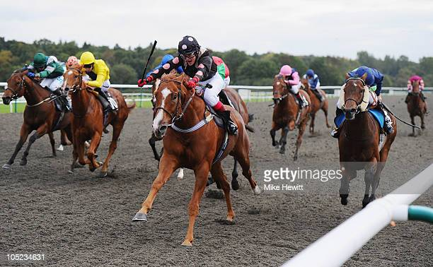 Natalia Gemelova on Cativo Cavallino on their way to victory in the Carol Sheppard's Birthday Crew Supporting Ham Handicap race at Lingfield Park on...