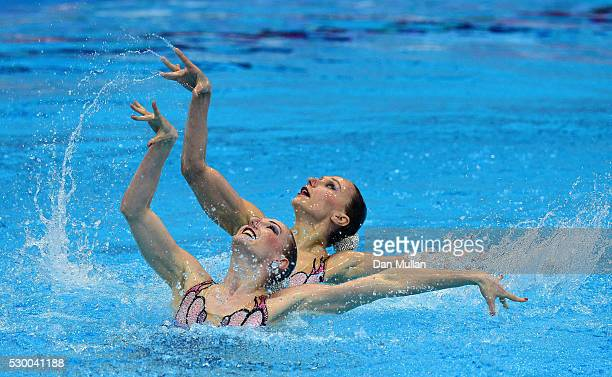 Natalia Ishchenko and Svetlana Romashina of Russia compete in the Synchronised Swimming Duet Free Preliminary Round on Day Two of the LEN European...