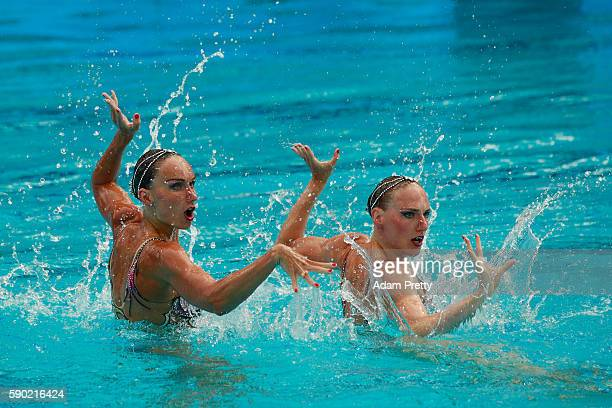 Natalia Ishchenko and Svetlana Romashina of Russia compete in the Synchronised Swimming Duets Free Routine final on Day 11 of the Rio 2016 Olympic...
