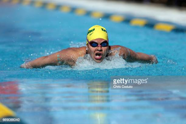 Natalia Jaspeado competes in the preliminary heat of the women's 200 meter butterfly on day three of the Arena Pro Swim Series Mesa at Skyline...
