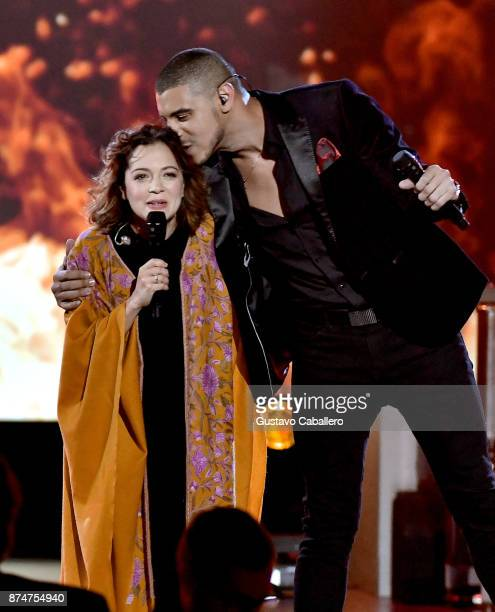 Natalia Lafourcade and Manuel Medrano perform onstage during the 2017 Person of the Year Gala honoring Alejandro Sanz at the Mandalay Bay Convention...
