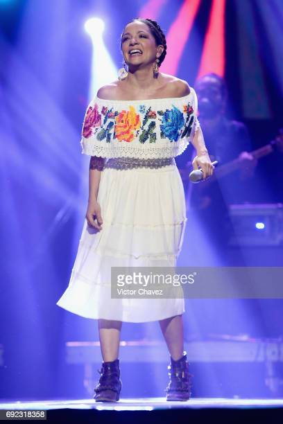 Natalia Lafourcade performs on stage during the MTV MIAW Awards 2017 at Palacio de Los Deportes on June 3 2017 in Mexico City Mexico