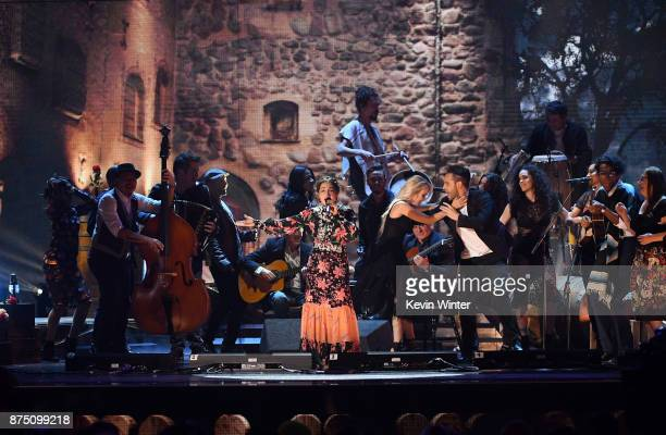 Natalia Lafourcade performs onstage at the 18th Annual Latin Grammy Awards at MGM Grand Garden Arena on November 16 2017 in Las Vegas Nevada