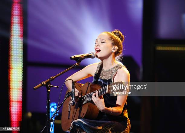 Natalia Lafourcade performs onstage during the 14th Annual Latin GRAMMY Awards held at Mandalay Bay Resort and Casino on November 21 2013 in Las...
