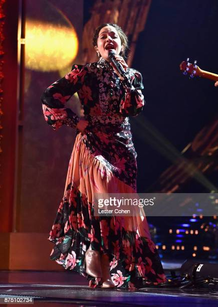 Natalia Lafourcade performs onstage during The 18th Annual Latin Grammy Awards at MGM Grand Garden Arena on November 16 2017 in Las Vegas Nevada