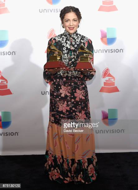 Natalia Lafourcade poses in the press room during The 18th Annual Latin Grammy Awards at MGM Grand Garden Arena on November 16 2017 in Las Vegas...