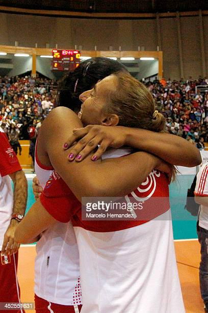 Natalia Malaga coach of Peru celebrates after the end game against Venezuela in women's volleyball as part of the XVII Bolivarian Games Trujillo 2013...