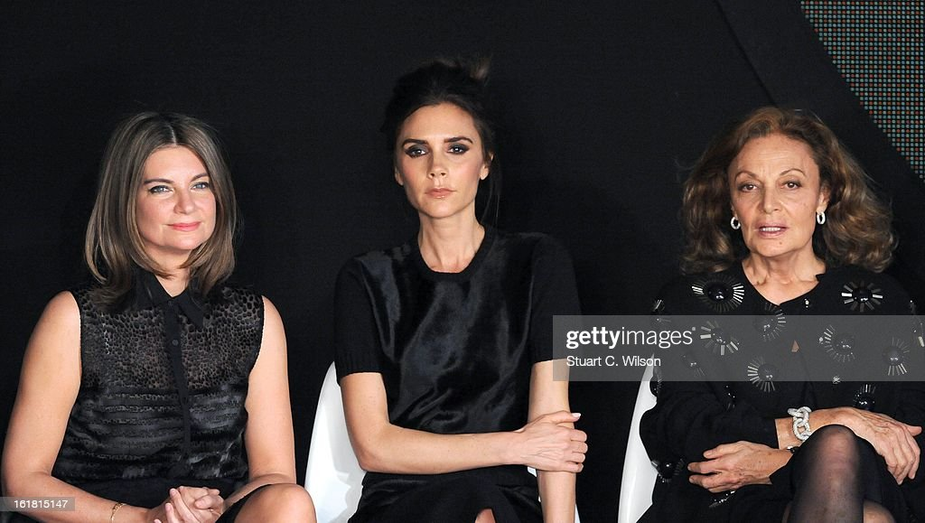 Natalia Massenet, <a gi-track='captionPersonalityLinkClicked' href=/galleries/search?phrase=Victoria+Beckham&family=editorial&specificpeople=161100 ng-click='$event.stopPropagation()'>Victoria Beckham</a> and Diane Von Furstenberg attend the International Woolmark prize grand final during London Fashion Week Fall/Winter 2013/14 at ME Hotel on February 16, 2013 in London, England.
