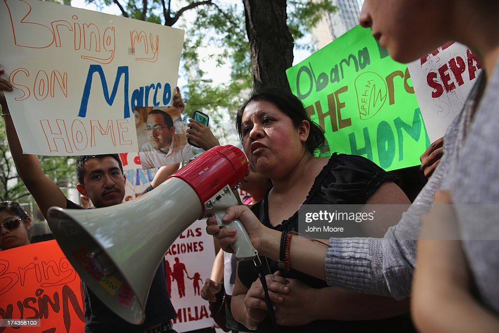 Natalia Mendez protests the detention of her son Marco Saavedra on July 24, 2013 in New York City. Protesters from the New York State Youth Leadership Council staged the demonstration in front of the New York City offices of U.S. Senators Chuck Schumer (D-NY) and Kirsten Gillibrand (D-NY). They called for the release of eight young 'dreamer' activists, including Marco Saavedra, a Mexican citizen, who were detained by federal authorities Monday in Nogales, AZ while trying to cross the border from Mexico into the United States.