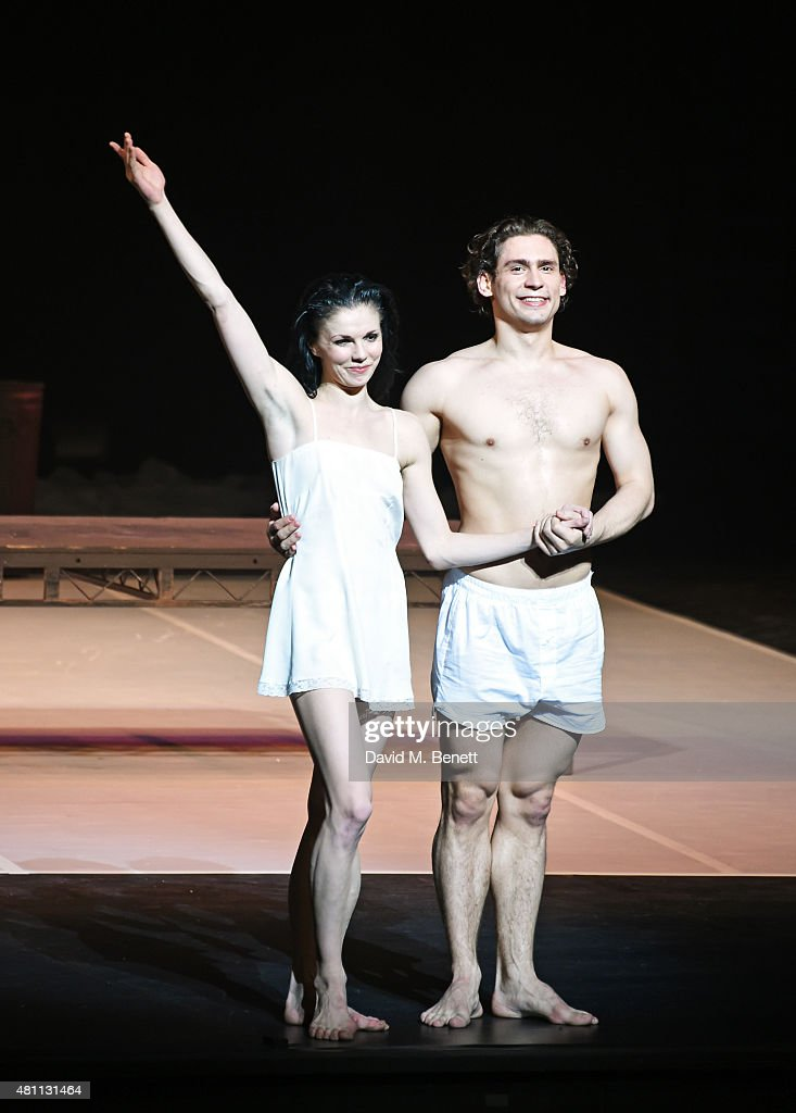 Natalia Osipova (L) and Ivan Vasiliev bow at the curtain call during the Ardani 25 Dance Gala at The London Coliseum on July 17, 2015 in London, England.