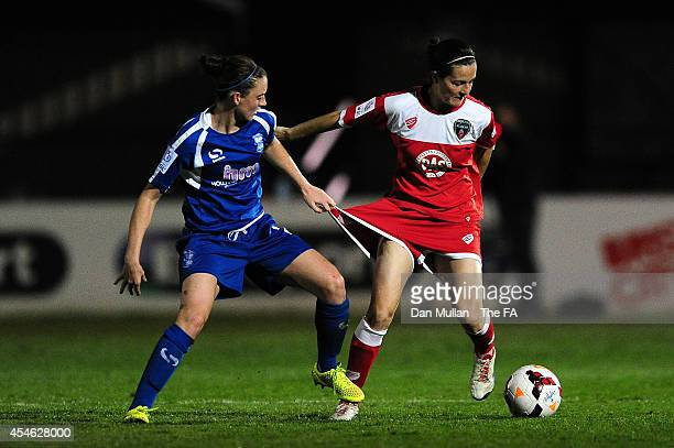 Natalia Pablos Sanchon of Bristol holds off Jade Moore of Birmingham during the FA SWL 1 match between Bristol Academy Womens FC and Birmingham City...