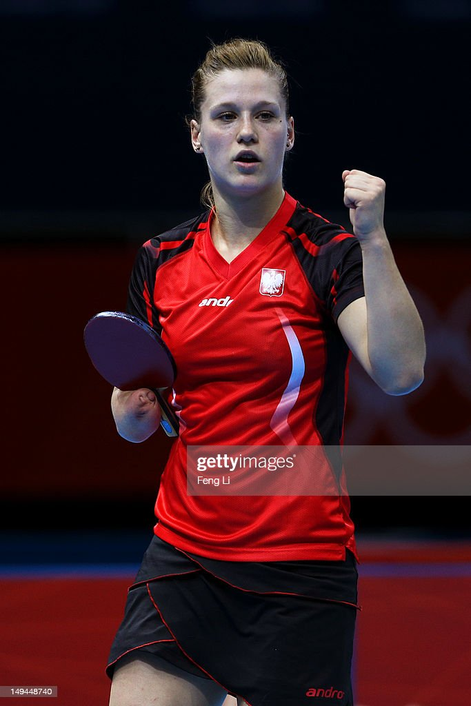 <a gi-track='captionPersonalityLinkClicked' href=/galleries/search?phrase=Natalia+Partyka&family=editorial&specificpeople=5489382 ng-click='$event.stopPropagation()'>Natalia Partyka</a> of Poland celebrates a point against Mie Skov of Denmark during their Women's Singles Table Tennis match on Day 1 of the London 2012 Olympic Games at ExCeL on July 28, 2012 in London, England.