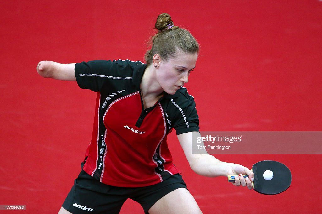 <a gi-track='captionPersonalityLinkClicked' href=/galleries/search?phrase=Natalia+Partyka&family=editorial&specificpeople=5489382 ng-click='$event.stopPropagation()'>Natalia Partyka</a> of Poland competes in the Women's Team Table Tennis quarter final match against Jie Liof Netherlands during day two of the Baku 2015 European Games at Baku Sports Hall on June 14, 2015 in Baku, Azerbaijan.