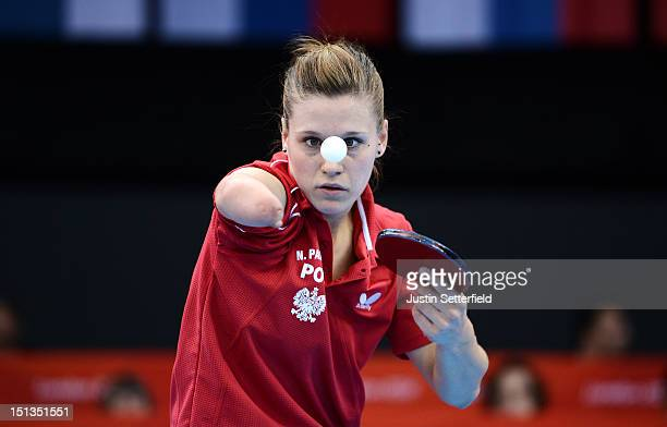 Natalia Partyka of Poland in action during the Women's Team Table Tennis Classes 610 quarterfinal match against Bruna Alexandre of Brazil on Day 8 of...