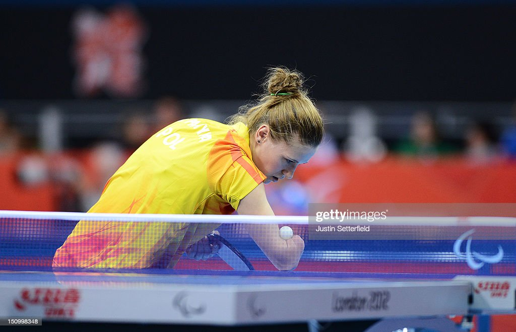 <a gi-track='captionPersonalityLinkClicked' href=/galleries/search?phrase=Natalia+Partyka&family=editorial&specificpeople=5489382 ng-click='$event.stopPropagation()'>Natalia Partyka</a> of Poland prepares to serve in a match against Umran Ertis of Turkey during the Preliminary Round of the Women's Singles Table Tennis Class 10 on Day 1 of the London 2012 Paralympic Games at ExCel on August 30, 2012 in London, England.
