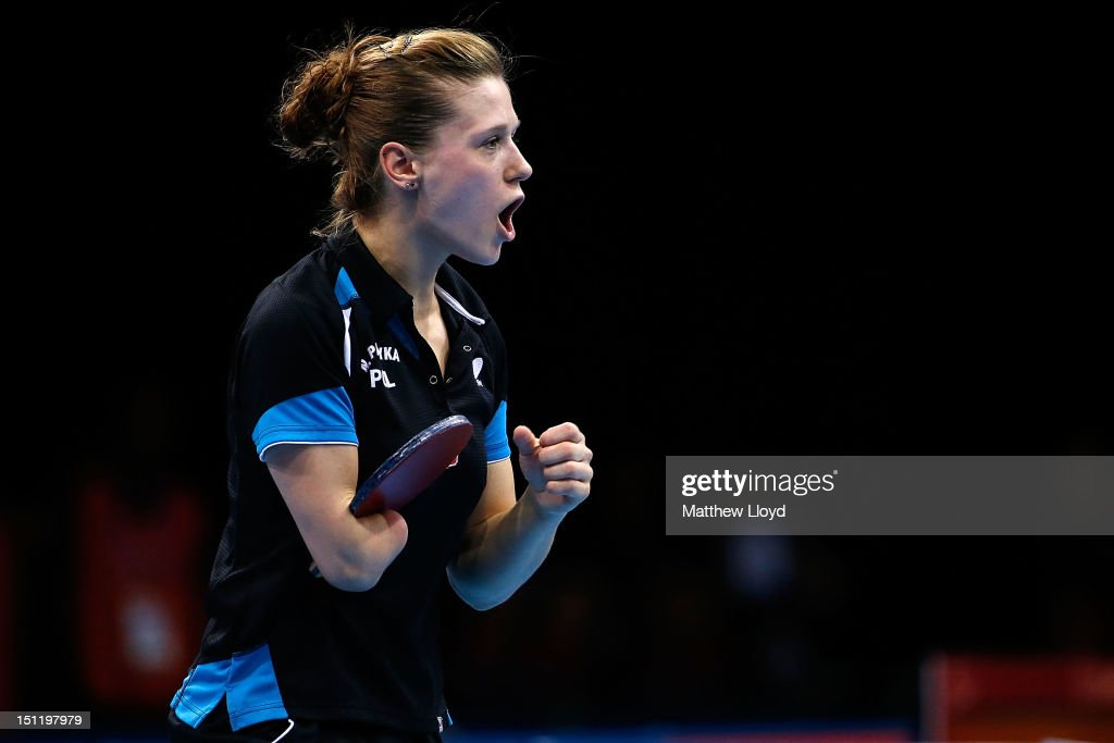 <a gi-track='captionPersonalityLinkClicked' href=/galleries/search?phrase=Natalia+Partyka&family=editorial&specificpeople=5489382 ng-click='$event.stopPropagation()'>Natalia Partyka</a> of Poland reacts after scoring a point against Qian Yang of China in the final of the women's Singles Table Tennis - Class 10 on day 5 of the London 2012 Paralympic Games at ExCel on September 3, 2012 in London, England.