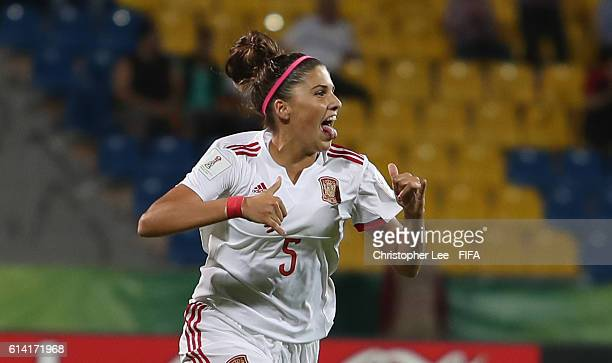 Natalia Ramos of Spain celebrates scoring their first goal during the FIFA U17 Women's World Cup Jordan 2016 Quarter Final match between Germany and...