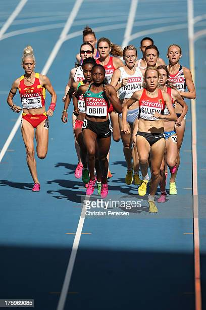 Natalia Rodriguez of Spain Hellen Onsando Obiri of Kenya and Diana Sujew of Germany compete in the Women's 1500 metres heats during Day Two of the...