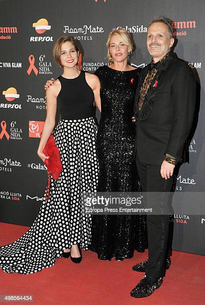 Natalia Sanchez Belen Rueda and Miguel Bose attends Gala Against Aids on November 23 2015 in Barcelona Spain