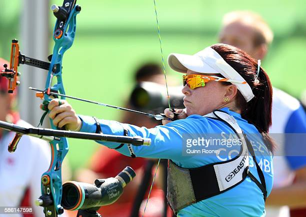 Natalia Sanchez of Colombia competes during the Women's Ranking Round on Day 0 of the Rio 2016 Olympic Games at the Sambodromo Olympic Archery venue...