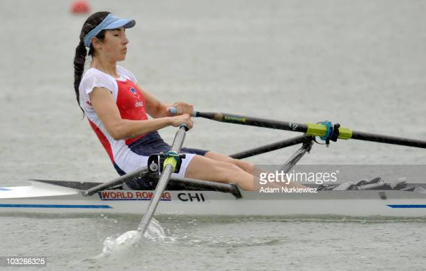 Natalia Sanchez Rojas of Chile competes in the Junior Women's Single Sculls Repechage Race during the FISA Junior World Rowing Championships held at...