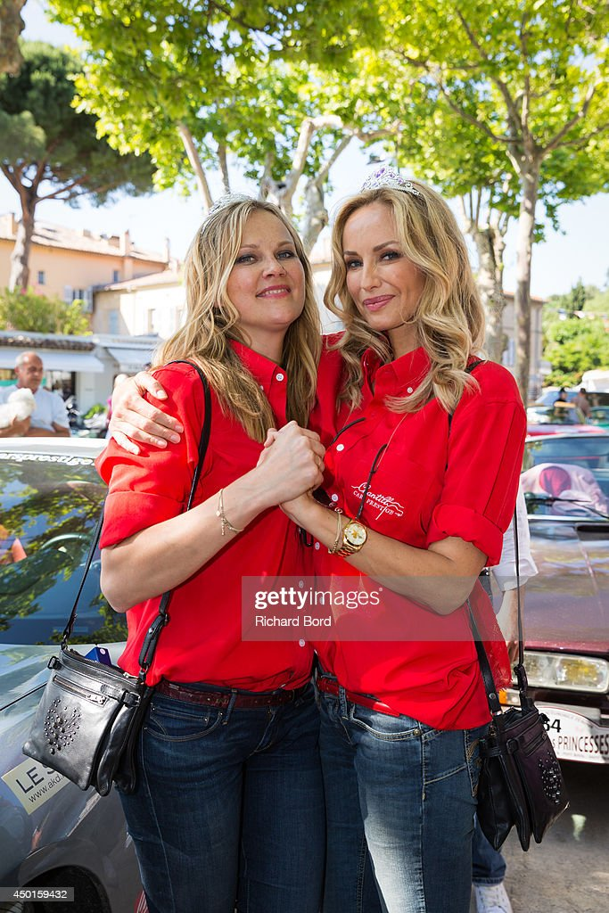 Natalia Sklenarikova and <a gi-track='captionPersonalityLinkClicked' href=/galleries/search?phrase=Adriana+Karembeu&family=editorial&specificpeople=207098 ng-click='$event.stopPropagation()'>Adriana Karembeu</a> pose at the arrival of the 15th Rallye des Princesses Place des Lices on June 5, 2014 in Saint Tropez, France.