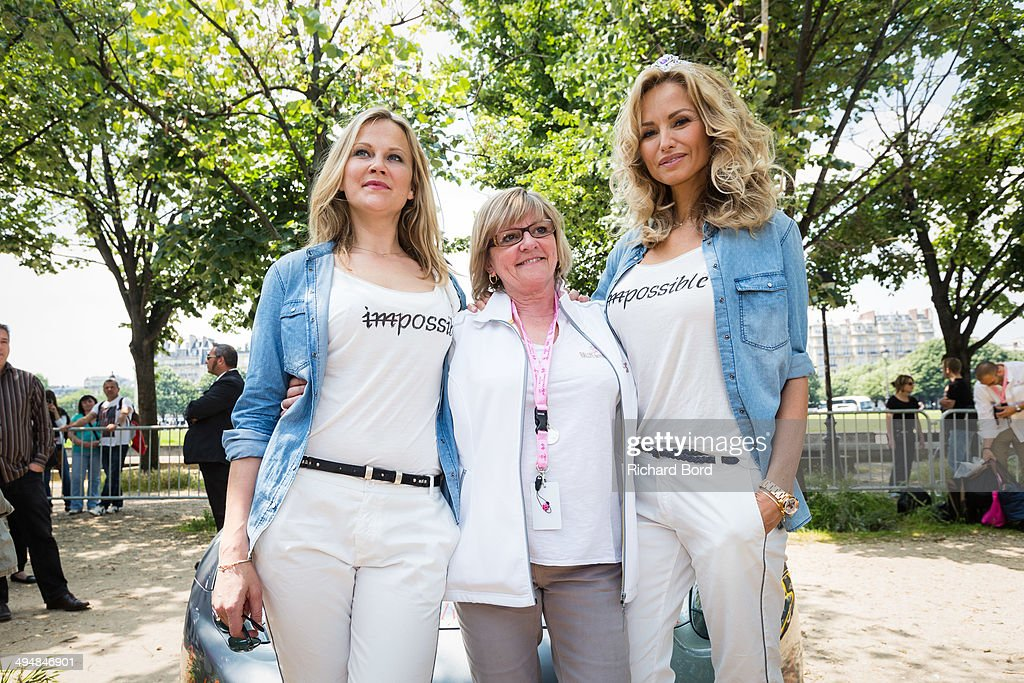 Natalia Sklenarikova, Rallye des Princesses organizer Viviane Zaniroli and <a gi-track='captionPersonalityLinkClicked' href=/galleries/search?phrase=Adriana+Karembeu&family=editorial&specificpeople=207098 ng-click='$event.stopPropagation()'>Adriana Karembeu</a> pose at Les Invalides as they take part in the 15th Rallye des Princesses on May 31, 2014 in Paris, France.
