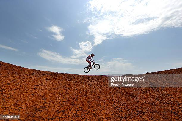 Natalia Suvorova of Russia competes in the Women's BMX Time Trial qualifying during day fourteen of the Baku 2015 European Games at the BMX Velopark...